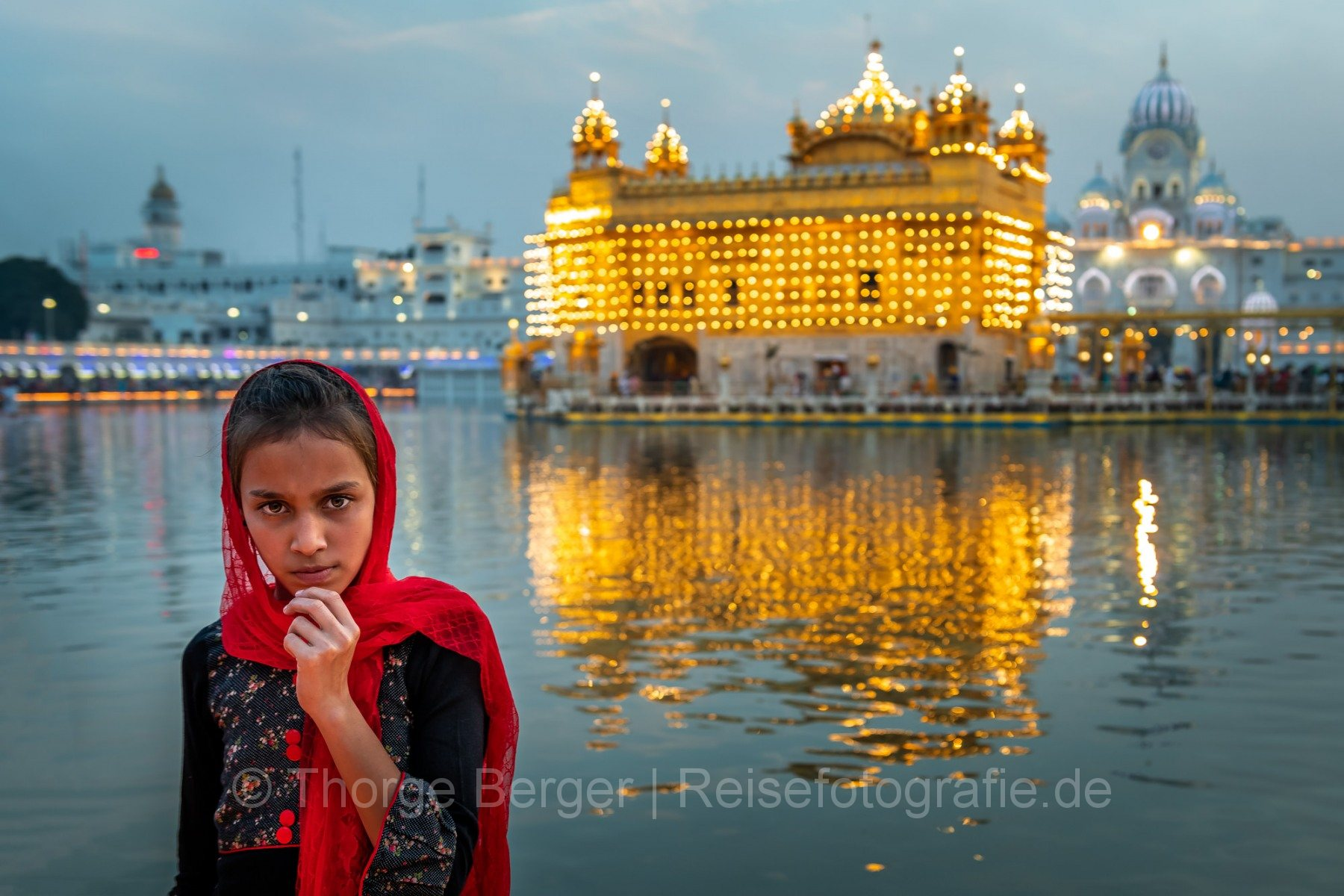 Girl at the Golden Temple of Amritsar