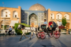 Kutsche auf dem großen Platz von Isfahan