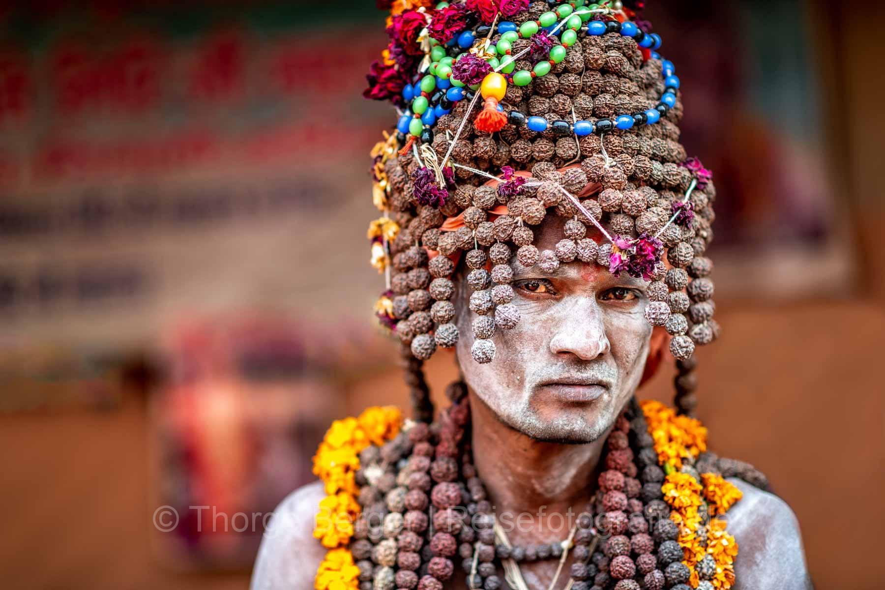 Sadhu auf der Ardth Kumbh Mela in Praygraj 2019