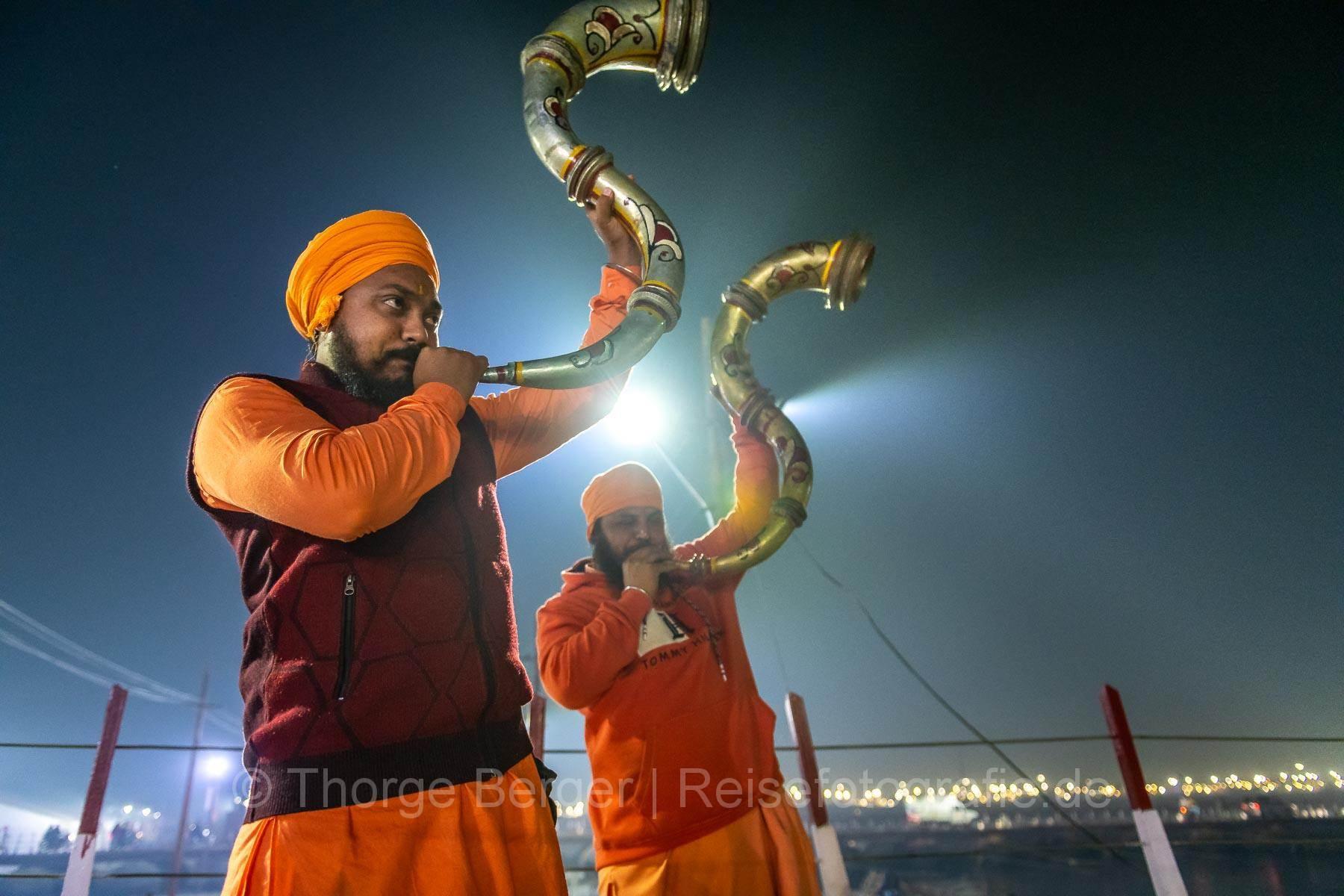 Trompeter auf der Ardth Kumbh Mela in Praygraj 2019