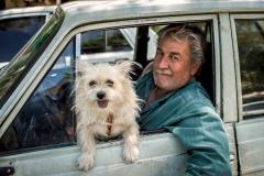 Mann mit Hund im Auto, Isfahan, Iran
