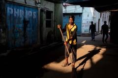Straßenfeger in Kalkutta, Indien